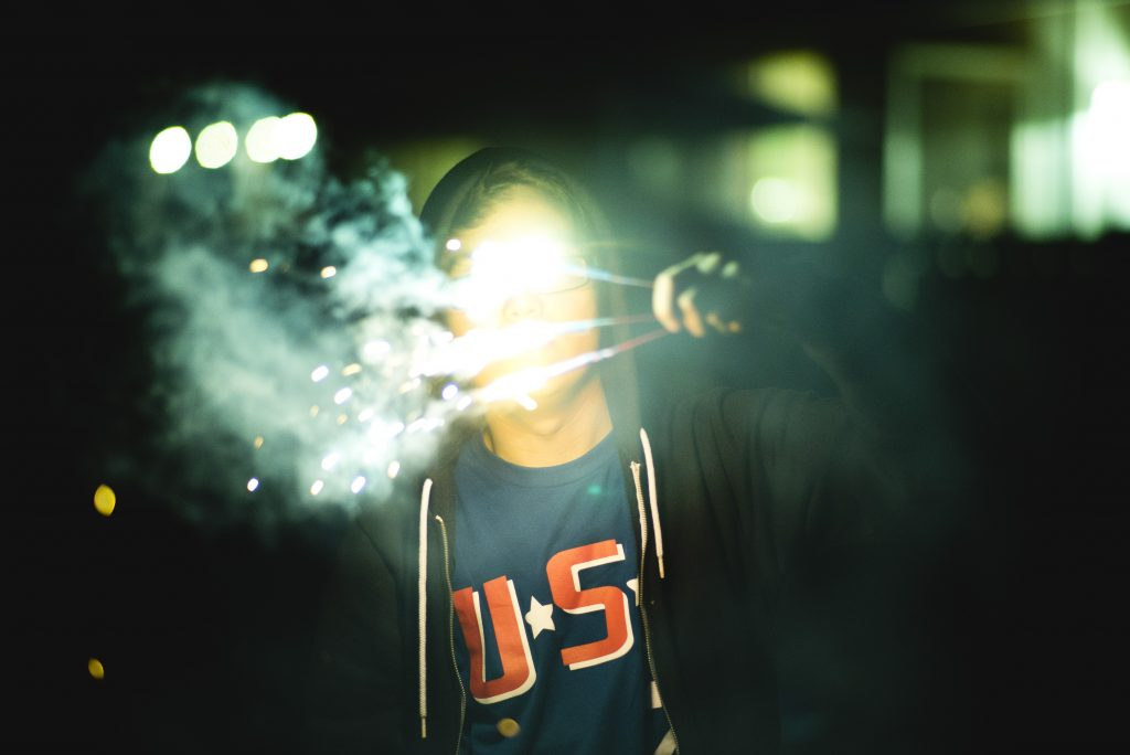 Derek Endo Holds up his Sparkler